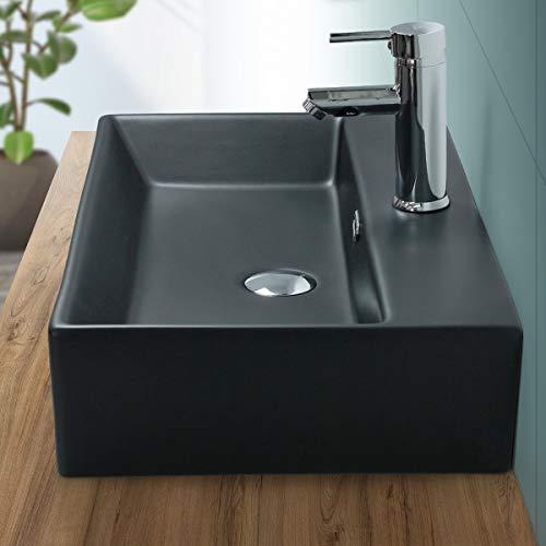 ML-Design Lavabo sobre Encimera - 600 x 365 mm - Cerámica - Diseño Cuadrado - Lavadero Negro Mate - Lavamanos Sobremesa Sanitario Baño o Aseo - Moderno y Elegante - Sin Válvula de Desagüe
