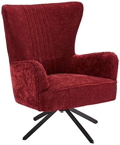 Ibbe Design Bordeaux Ohrensessel Drehbar Lounge Sessel Skandinavisch Lesesessel Samtoptik Stoff Juno, Sitzhöhe 43 cm, 75x78x93 cm