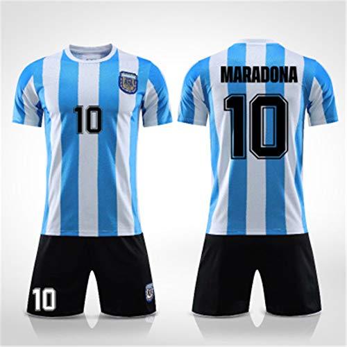 Argentinien Trikot 86, Maradona Trikot Kinder, Argentinien Fußballtrikot Maradona, Argentinien 1986 Trikot, Retro Trikot Fußball, Fußballuniform Männer, Gedenk Trikot (L)