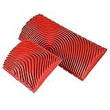 Errum Juego de 2 pinceles de imitación de madera con rodillo de vetas de madera para pared, de goma, herramientas de pintura para manualidades, color rojo