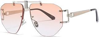 QWKLNRA - Gafas De Sol para Hombre Montura De Color Dorado Lente De Champán Gafas De Sol Sin Montura Hombres Gafas De Sol Monturas De Gran Tamaño Aleación Irregular Mujer Única Gafas Uv400 Ciclism