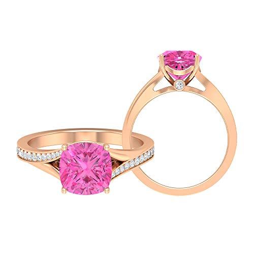 Rosec Jewels - 8 MM Cushion Cut Lab Created Pink Sapphire Solitaire Ring with Moissanite Side Stones, Split Shank Engagement Ring (AAAA Quality), 14K Rose Gold, Size:UK S1/2