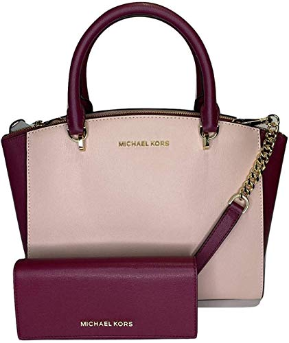 Bundle of 2 items: MICHAEL Michael Kors Ellis Large Satchel bundled with Michael Kors Jet Set Travel LG Continental Wallet Top Zip, studded details in gold, Durable new design saffiano/smooth leather, Top handles and detachable adjustable crossbody s...