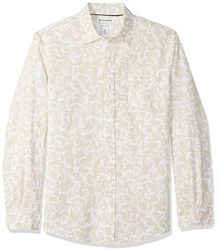 Amazon Essentials - Camisa regular de lino a cuadros con manga larga para hombre, Natural Leaf Print, US L (EU L)