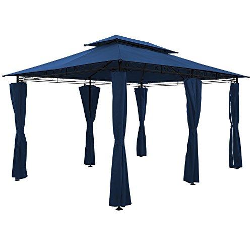 Deuba Luxus Pavillon Topas 3x4m Seitenwände Eckig Festzelt Partyzelt Gartenlaube Gartenzelt Gartenpavillon Blau