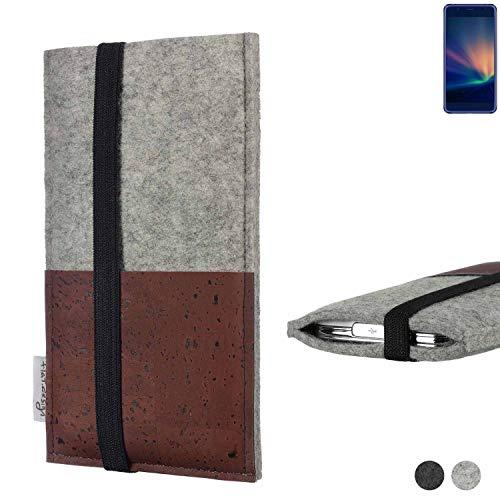 flat.design Handy Hülle Sintra für Hisense A2 Pro Handytasche Filz Tasche Schutz Kartenfach Case braun Kork