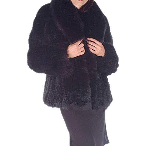 Women Winter Faux Fur Coat Jacket Faux Fox Fur Coat Long Artifical Fur Coats Overcoat Women Furs Coat Jacket (2XL, Black)