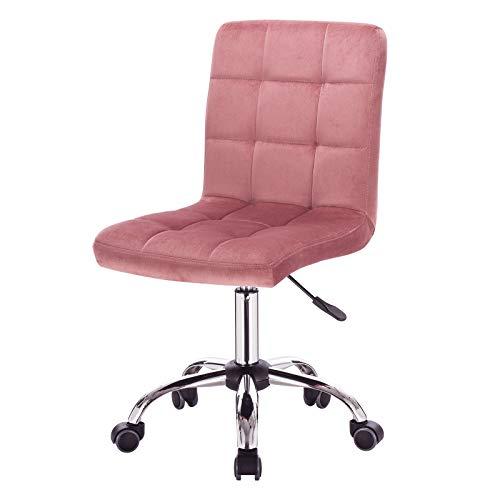 EUGAD 0036BGY Arbeitshocker auf Rollen Bürohocker Schreibtischstuhl Rollhocker 360° drehbar höhenverstellbar Samt Metall Rosa