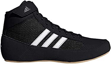 adidas Men's HVC Wrestling Shoe, Black/White/Iron Metallic, 8.5