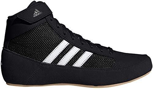 adidas Men's HVC Wrestling Shoe, Black/White/Iron Metallic,...