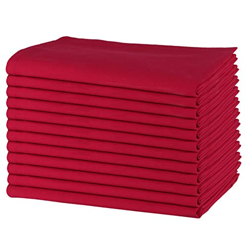 SweetNeedle - Packung mit 12-100% Baumwolle Oversized Dinner Servietten 50 cm x 50 cm (20 Zoll x 20 Zoll), Tomatenrot - Schweres Gewebe für den täglichen Gebrauch mit Gehrung Ecken beenden