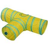 YYLZJ Canal De Túnel De Mascotas De Tres Vías Plegable Tienda De Campaña De Juguete De Alquiler Modelo T Azul Y Amarillo