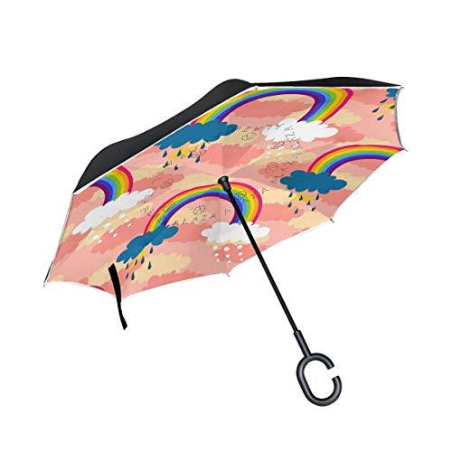 HYJDZKJY dubbele laag omgekeerde paraplu's omgekeerde vouwparaplu regenboog storm en sneeuw winddicht voor auto regen buiten met C-vormige handvat