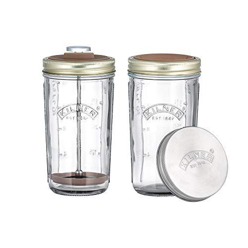 Kilner Nussmilch / Mandelmilch-Herstellungset-Set, 2 Gläser mit Zubehör und Deckel, 0,5 l