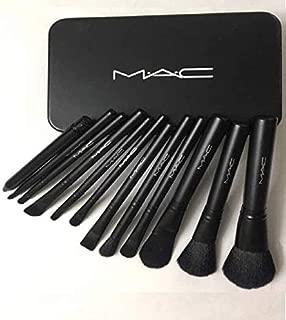 Anytime shops Professional Powder Foundation, Eye Shadow Makeup Brush Set (Black) - Pack of 12