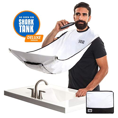 BEARD KING Official Beard Bib - Beard Hair Catcher & Grooming Cape for Shaving and Trimming - Beard Apron for Men - As Seen on Shark Tank - White (Deluxe Version)