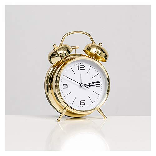 JINGZI Modern Minimalist Personality Alarm Clock Decoration Lazy Dormitory Rental Room Bedside Table Cartoon Creative Clock Decoration (Color : Type A Gold)