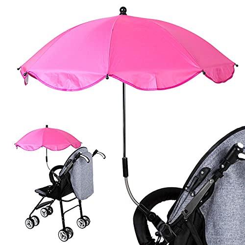 Ducomi BabySun Ombrello Parasole per Passeggino e Carrozzina Neonati - Ombrellino Neonato Copri Sole Universale e Pieghevole con Supporto Facile Montaggio - Lunghezza: 77 cm (Hot Pink)
