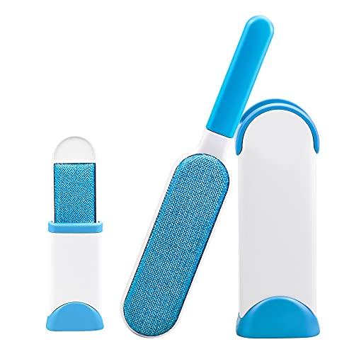 YUENX 3 Piezas Quitapelos para Mascotas, Removedor de Pelo para Mascotas Cepillo de Limpieza mágico Reutilizable con autolimpiante Quitar el Pelo del Gato del Perro (Azul)