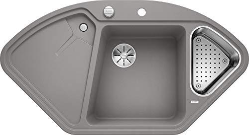 Blanco Delta II, Eckspüle, Küchenspüle aus Silgranit PuraDur, Alu metallic/mit InFino-Ablaufsystem, inklusive Edelstahlschale und Ablauffernbedienung; 523658