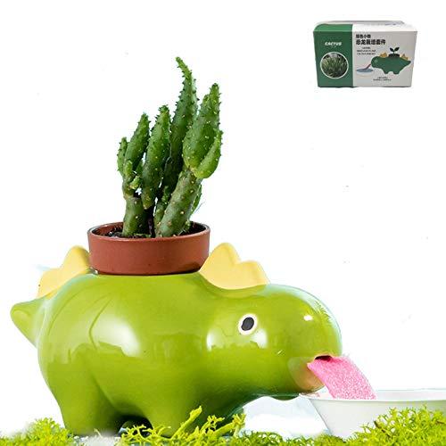 Dinosaur Pot,Dinosaur Shape Ceramic,Baidixing Self Watering Drinking Dinosaur Tongue,with Drain Hole,for Multipurpose Bonsai Cactus Flower Small Pot (Green)