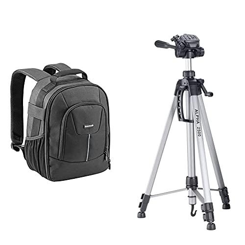 Cullmann Panama Backpack 200, leichter Kamerarucksack mit variablen Inneneinteilern & 52125 - Alpha 2500 Stativ mit 3-Wege-Kopf (Auszugshöhe 165 cm, Packmaß 67 cm, Gewicht 1277 g), silber
