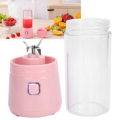 Licuadora extractora de jugos de frutas, taza exprimidora recargable USB, taza de jugo saludable portátil de alta velocidad(rosado)