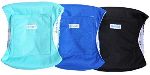 Price comparison product image Paw Legend Washable Dog Belly Wrap Diapers for Male Dog (3 Pack, Blue, Aqua, Black, XX-Large)