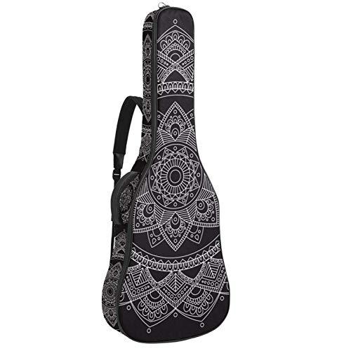 Funda de Guitarra Española Mandala indio Bolsa Acolchada Para Guitarra Acústica con Asa de Transporte y Correa Para el Hombro 109x43x12cm
