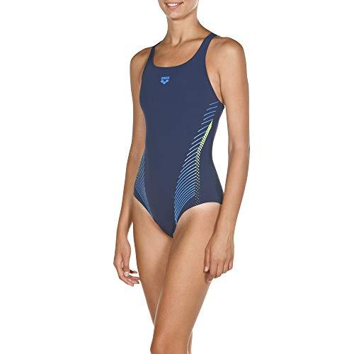 ARENA Damen Sport Badeanzug Fluids, Navy-Shiny Green, 46