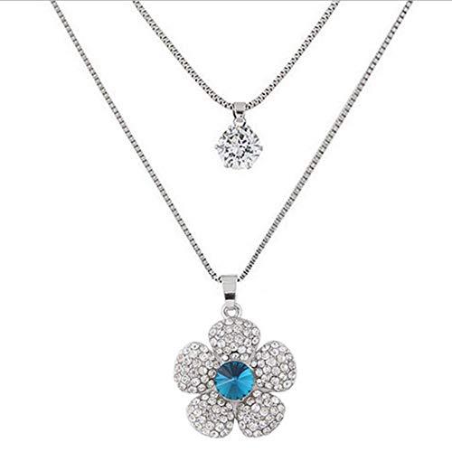 Xianglsp Co.,ltd Collar Moda Sweet Crystal Smiley Face Petal Key Collares Y Colgantes para Mujeres Collar De Doble Capa Collar Largo Cadena De Joyería