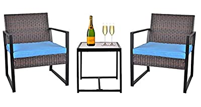 Grepatio 3 Piece Patio Conversation Set, Outdoor Wicker Furniture with 2 Chairs and Glass Coffee Table for Porch, Yard (Brown and Blue)
