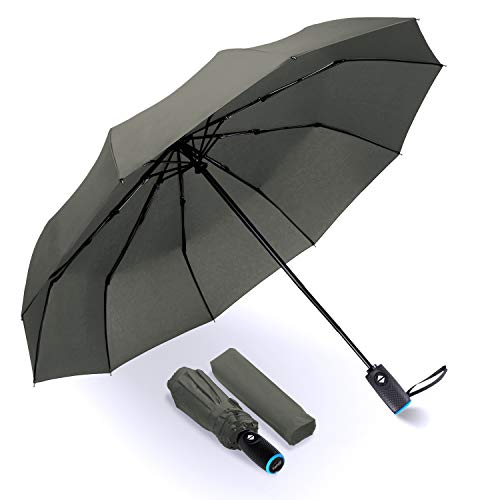 Tadge Goods Windproof Travel Umbrella with Automatic Open/Close (Grey) Rain Resistant Canopy with Teflon Coating | Wind Proof Durability | Includes Carry Bag