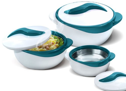 Pinnacle Serving Salad/ Soup Dish Bowl - Thermal Insulated Bowl with Lid -Great Bowl for Holiday, Dinner and Party ~ Set of 3 ~ Turquoise