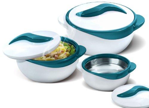 Pinnacle Servierschüssel für Salat/Suppenteller – Thermoschüssel mit Deckel – tolle Schüssel für den Urlaub, Abendessen und Party, 3 Stück, Türkis
