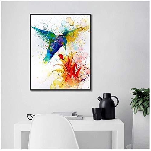 Zhaoyangeng Nordic Modern Hummingbird Flowering muurkunst canvas schilderij Hd Print Poster voor woonkamer huis decoratie - 50X70cm niet-ingelijst