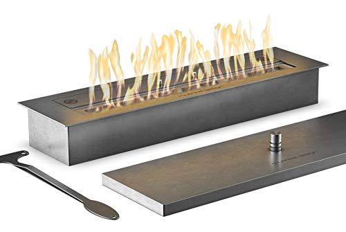 muenkel design Safety Burner 600 – manueller Brenner Einsatz – Bio-Ethanol Brennkammer mit 45 cm Flammenbreite – Edelstahl, gebürstet