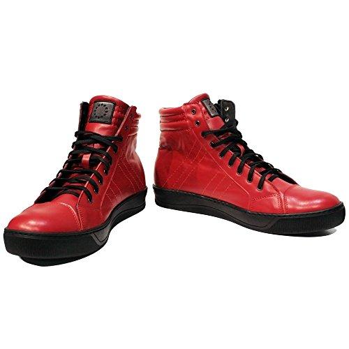 PeppeShoes Modello Redhot - EU 42 - US 9 - UK 8-27 cm - Handgemachtes Italienisch Bunte Herrenschuhe Lederschuhe Herren Rot Mode Sneakers Lässige Schuhe - Rindsleder Weiches Leder - Schnüren