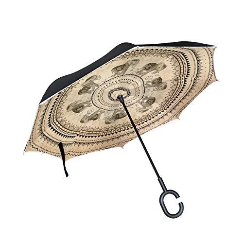 ISAOA Paraguas Plegable de Doble Capa, Paraguas de Auto de pie y hacia afuera, Mandala India, Elefante, Resistente al Viento, Lluvia, Paraguas invertido con protección UV