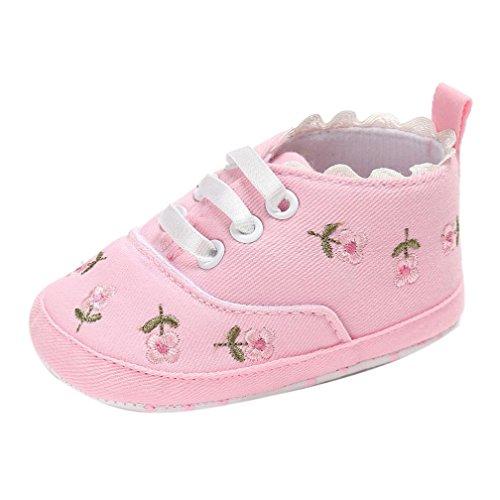 URSING Neugeboren Prinzessin Rosa Säugling Baby Mädchen Blumen Krippenschuhe Weiche Sohle Anti-Rutsch Segeltuch weich gemütlich Turnschuhe (0~6 Month, Rosa)