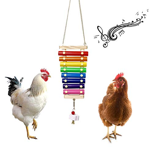 Vehomy Chicken Xylophone Toy for Hens Suspensible Wood Xylophone Toy with 8 Metal Keys Chicken Coop Pecking Toy with Grinding Stone (Rainbow Color)