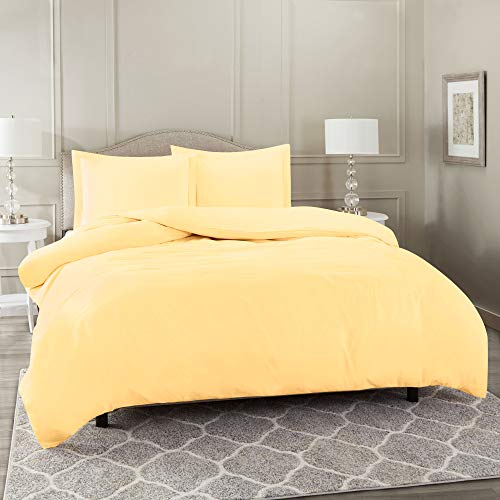 Nestl Bedding Duvet Cover 3 Piece Set - Ultra Soft Double Brushed Microfiber Hotel Collection - Comforter Cover with Button Closure and 2 Pillow Shams, Vanilla Yellow - California King 98'x104'