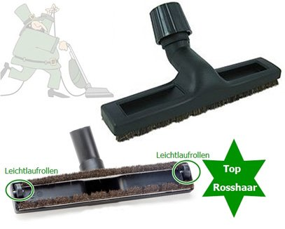 TOP vloermondstuk paardenhaar natuur, 2 glijwielen voor beam stofzuiger