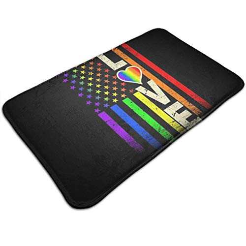 Outdoor Indoor Doormat Love Gay Pride Rainbow American Flag Welcome Non Slip Doormats Door Mats Floor Mat Home Carpets Rug For Entrance Front Door Kitchen Bedroom Garden Bathroom 19.5 X 31.5 Inch