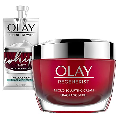 41jsYszBUAL - Olay Regenerist Micro-Sculpting Cream Face Moisturizer with Hyaluronic Acid & Vitamin B3+, Fragrance-Free, 1.7 Oz + Whip Face Moisturizer Travel/Trial Size Bundle
