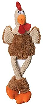 goDog Checkers Skinny Rooster With Chew Guard Technology Tough Plush Dog Toy,Brown Large