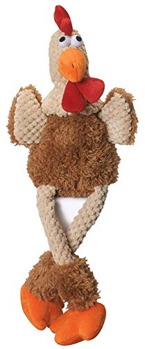 goDog Checkers Skinny Rooster With Chew Guard Technology Tough Plush Dog ToyBrown Large