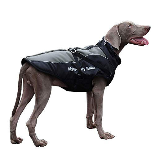 Dog Jacket - Winter Coat for Dogs Extra Warm Plush Collar Waterproof Windproof Pet Jacket for Hiking Camping with Zipper Reflective Dog Vest for Medium Large Dogs Build-in Harness (3XL, Grey)