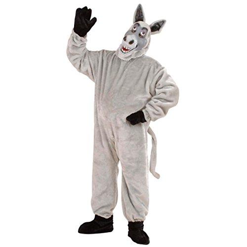 Amakando Déguisement intégral âne Costume Complet Animal de Ferme Gris en péluche bête de Trait Zoo Body Habit Mascotte Carnaval Mardi Gras
