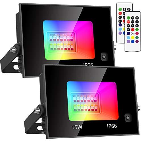 Olafus 2 Projecteur LED RGB 15W, 11 Couleurs 2 Modes IP66 Spot Multicolor avec Télécommande à 44 Touche, Lampe Ambiance Multicouleur Atténués, Eclairages Intérieur Extérieur pour Bistro Maison Fête